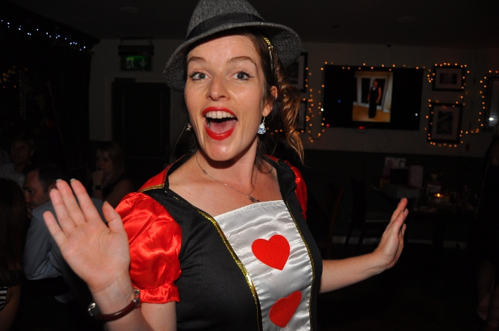 The Queen of Hearts at this alice in wonderland birthday party
